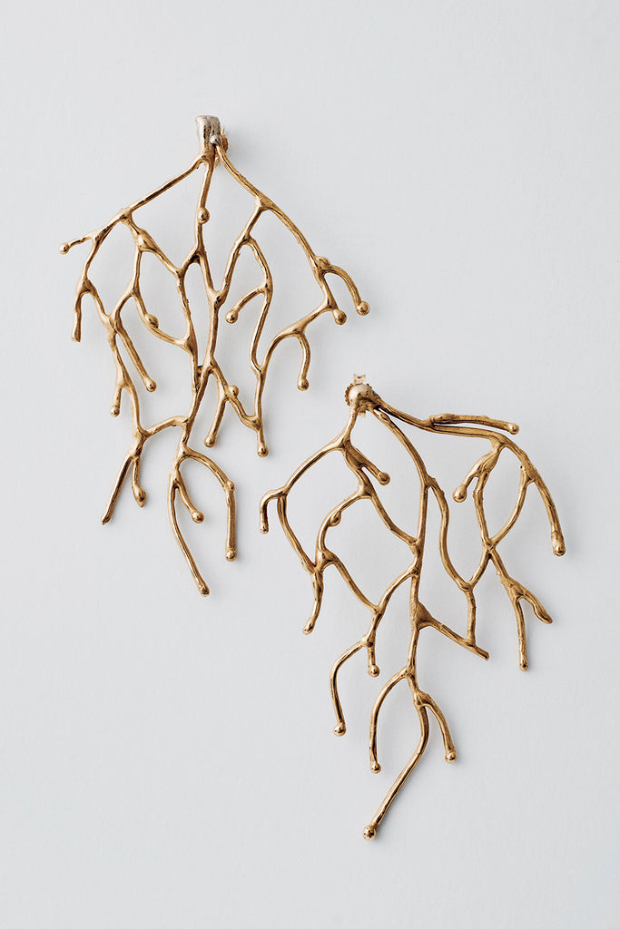 Delve Branch Earrings Gold 1