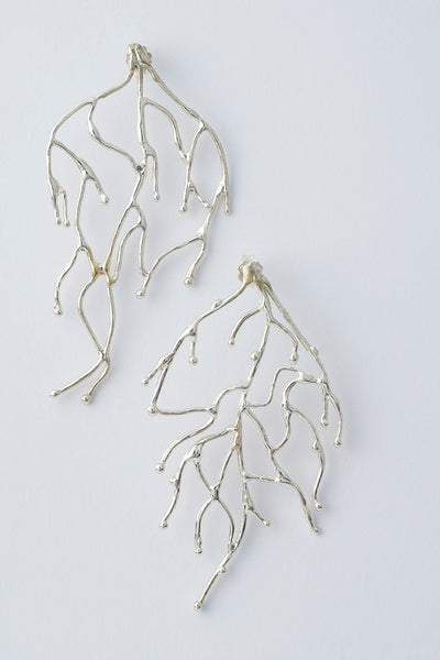 Delve Branch Earrings Silver 1