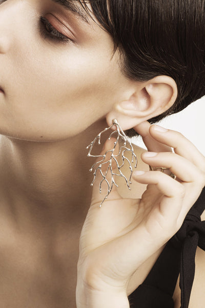 Delve Branch Earrings Silver 2
