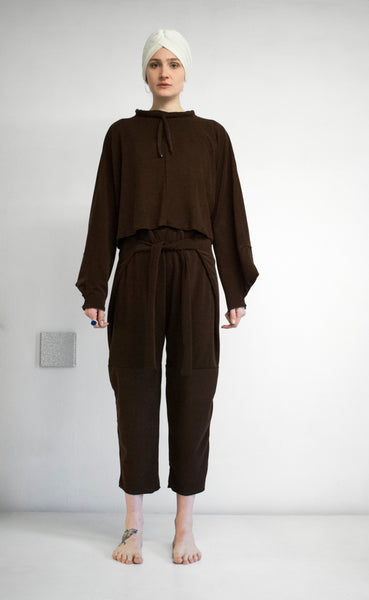 EVADIFRANCO Drawstring Top and Tie Pants Brown 1