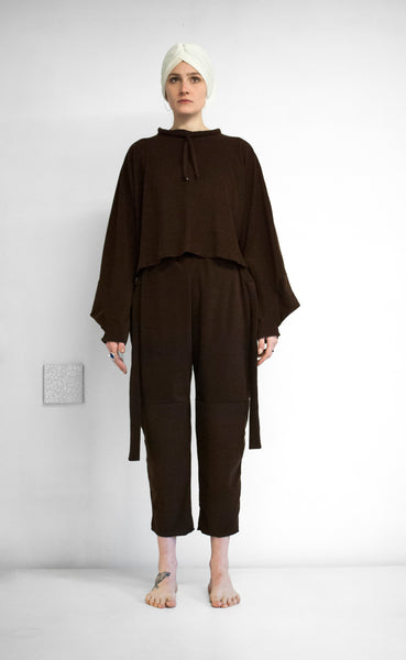 EVADIFRANCO Drawstring Top and Tie Pants Brown 2