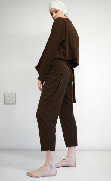 EVADIFRANCO Drawstring Top and Tie Pants Brown 7