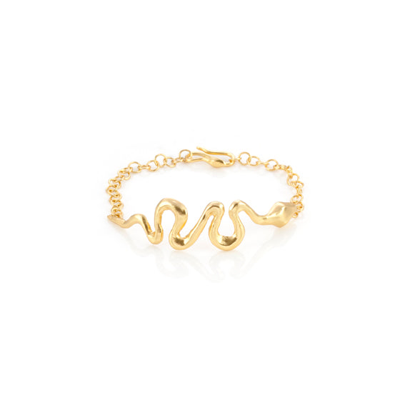 Giulia Barela Ribbon Bracelet Gold Plated Bronze 1
