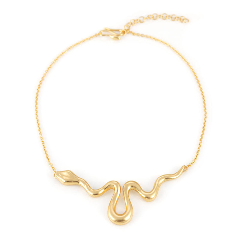 Giulia Barela Ribbon Necklace Large Gold 1