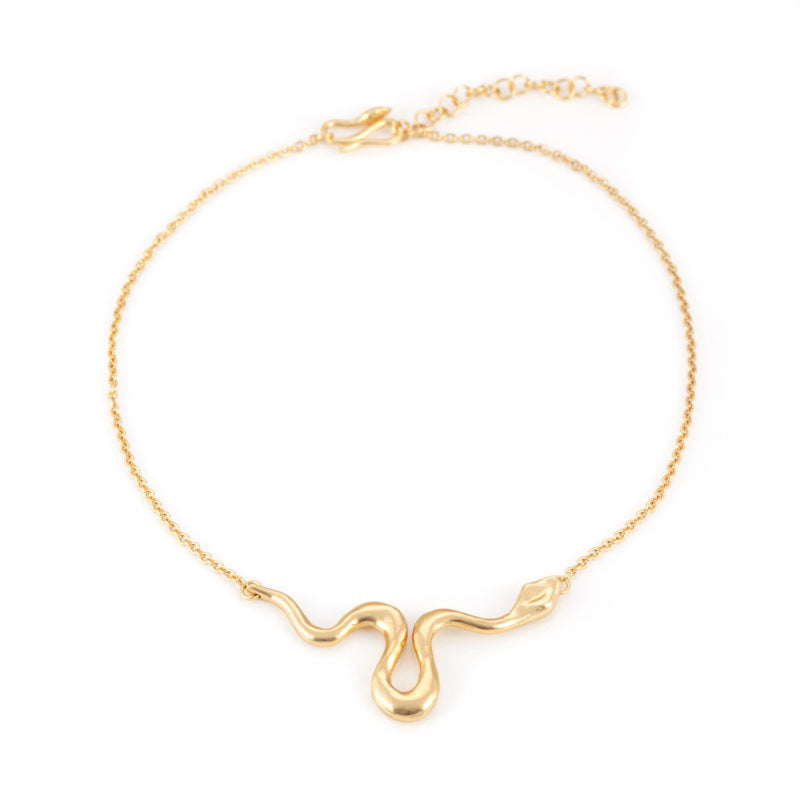 Giulia Barela Ribbon Necklace Medium Gold 1