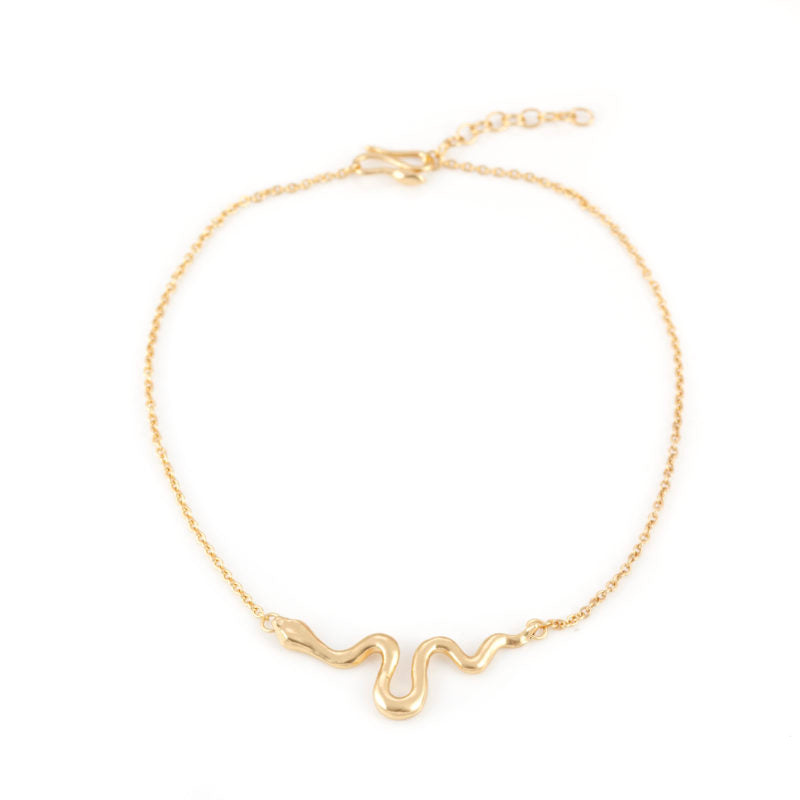 Giulia Barela Ribbon Necklace Small Gold 1