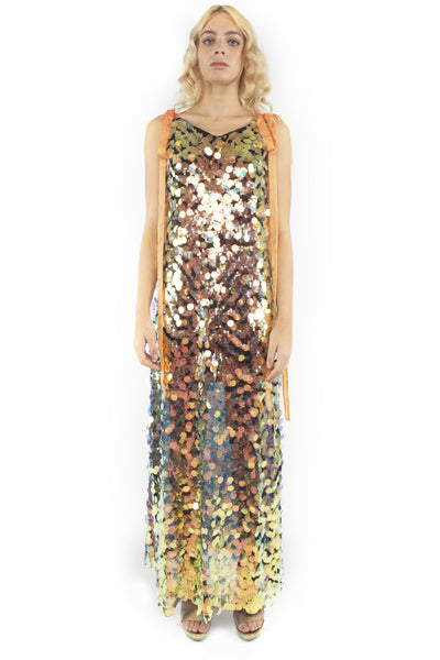 The B. by Federico Barrazzo Long Maxi Sequin Dress with Tapes 2