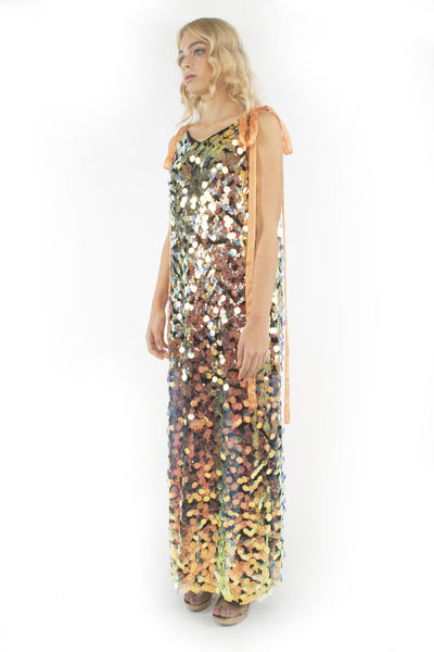 The B. by Federico Barrazzo Long Maxi Sequin Dress with Tapes 3