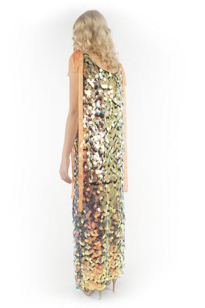 The B. by Federico Barrazzo Long Maxi Sequin Dress with Tapes 4