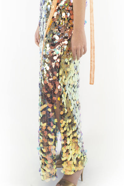 The B. by Federico Barrazzo Long Maxi Sequin Dress with Tapes 5