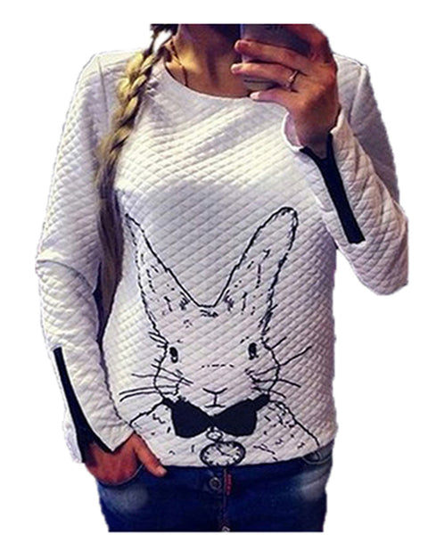 2015 New Women Ladies Fashion Lovely Animal Printed Long Sleeve O Neck Casual Hoodies Female White Pullover Sweatshirts