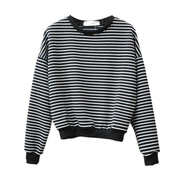 2016 Hoodies Women Sweatshirts Harajuku Women Tops Striped Sweatshirt Hoody Long Sleeved O-neck Cotton Casual Black White Top