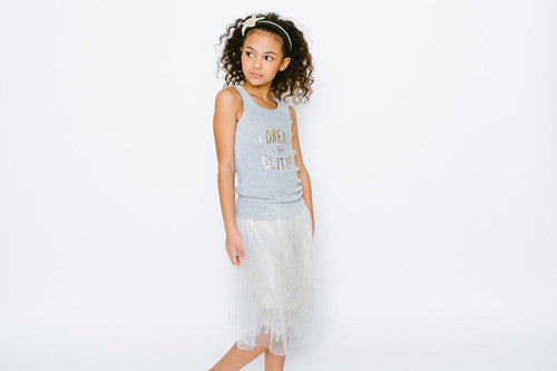 """I Dream in Glitter"" Gold Foil Tank"