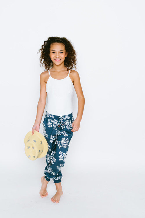Navy Sugar Skull Beach Pant - Kamari Kids