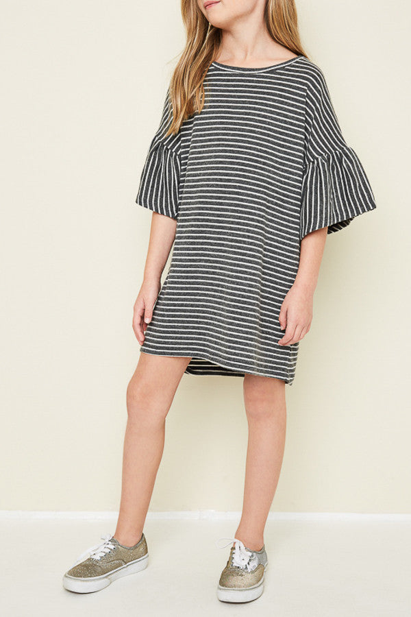 Oversized Stripe Dress in Charcoal