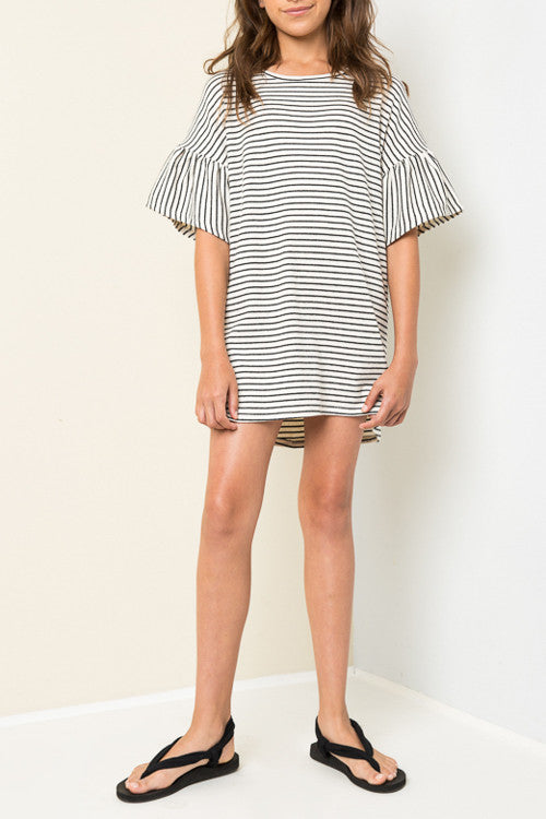 Oversized Stripe Dress in White and Black