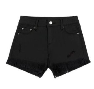 Black Denim Fray Short