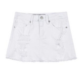 White Denim Fray Skirt