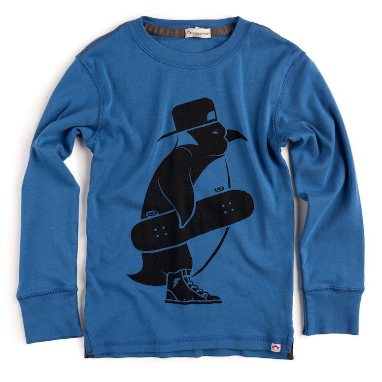 Long Sleeve Graphic Tee - Skater Penguin