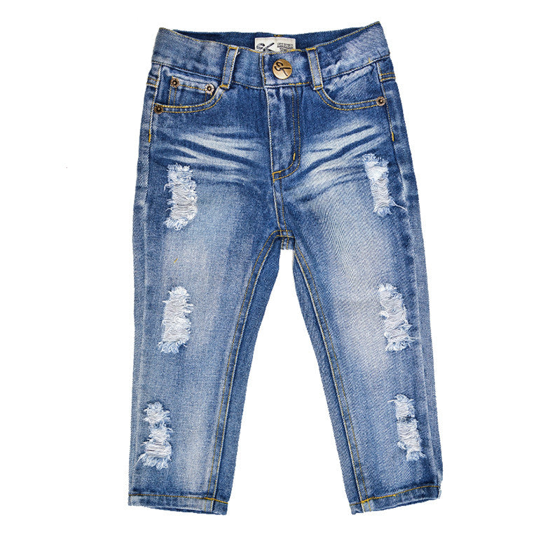 Distressed Dark Wash Jean