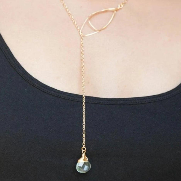 Gold Lariat with Aqua Quartz