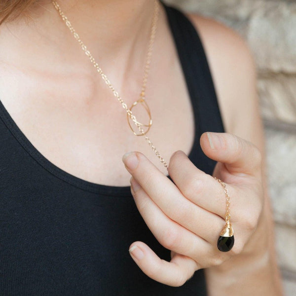 Black Onyx Lariat in Gold or Silver - Forai