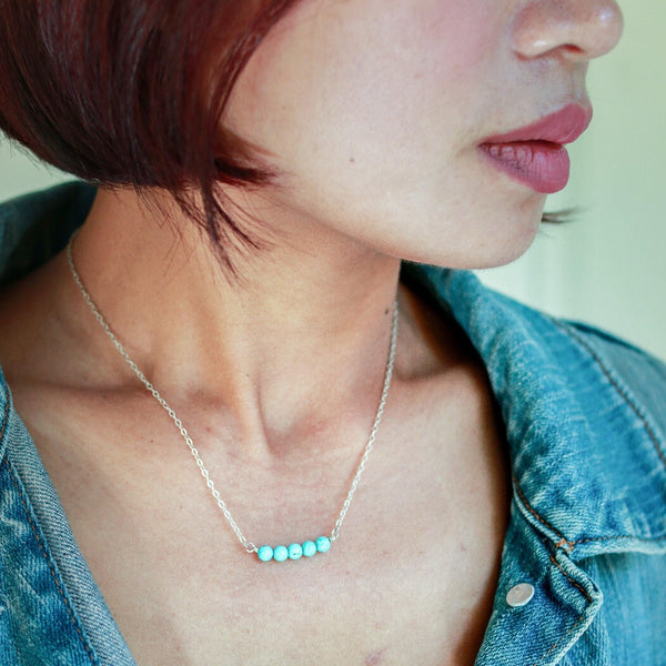 Mingle Collection Turquoise Beaded Bar in Sterling Silver - Forai
