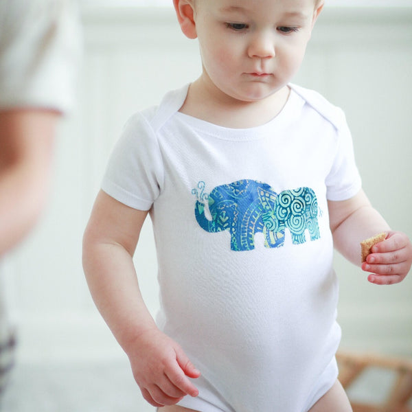 Onesie with Hand-Appliqued Batik Mama & Baby Elephant