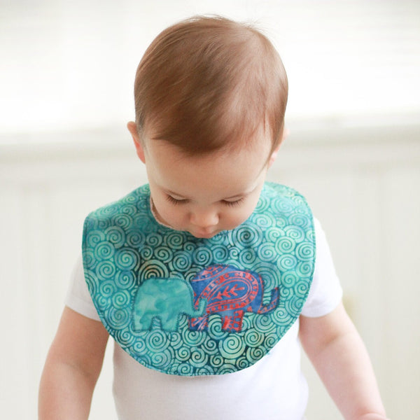 Baby Bib with Mama & Baby Elephant on Batik