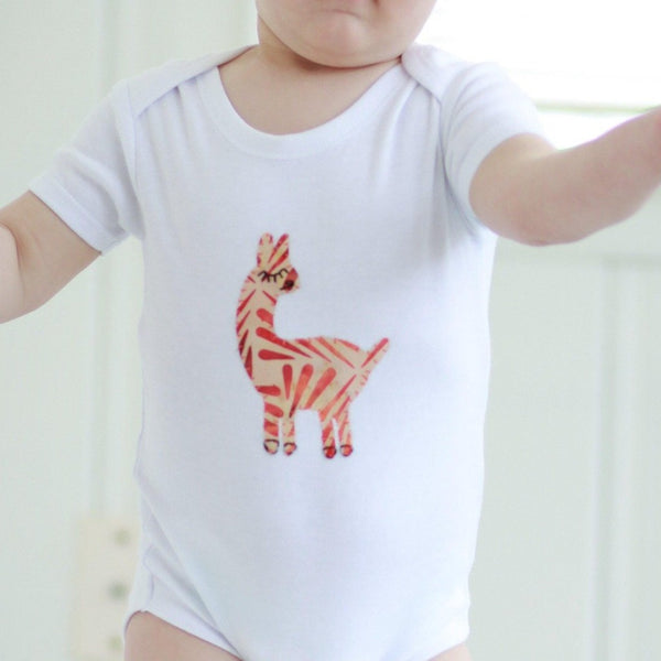 Onesie with Hand-Appliqued Batik Llama