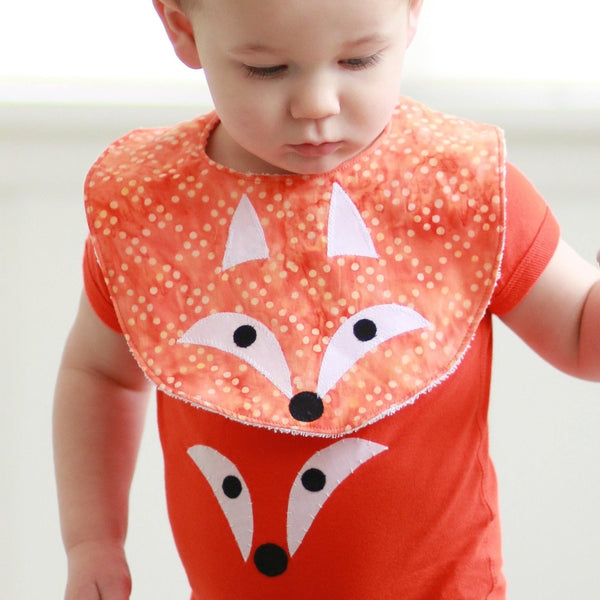 Baby Bib with Fox Applique on Batik