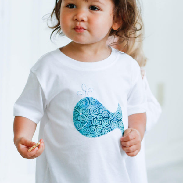 Onesie or Tee with Hand-Appliqued Batik Whale