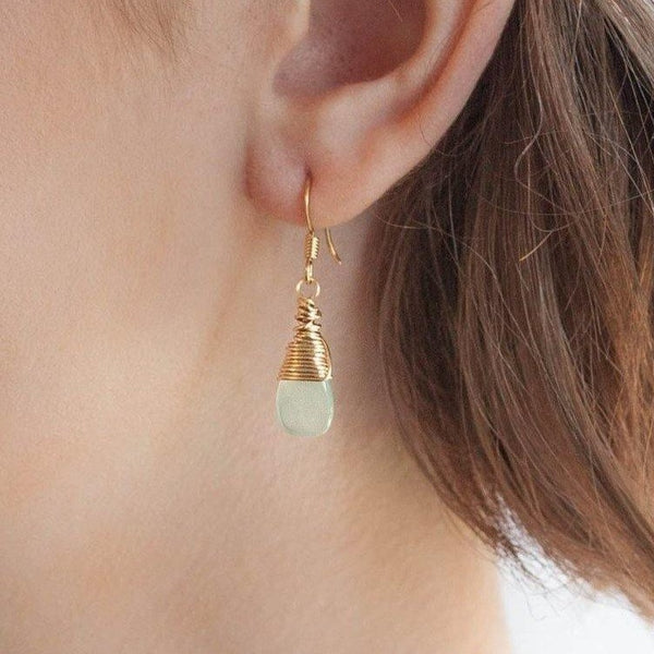 Mingle Drop Earrings with Aqua Chalcedony
