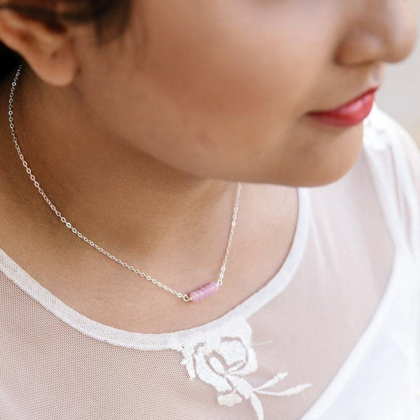 Mingle Collection Rose Quartz Beaded Bar in Sterling Silver