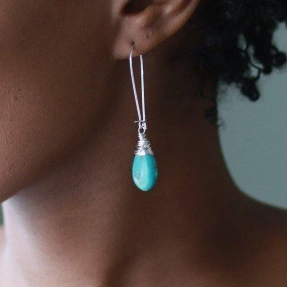 Turquoise Teardrops in Gold or Silver