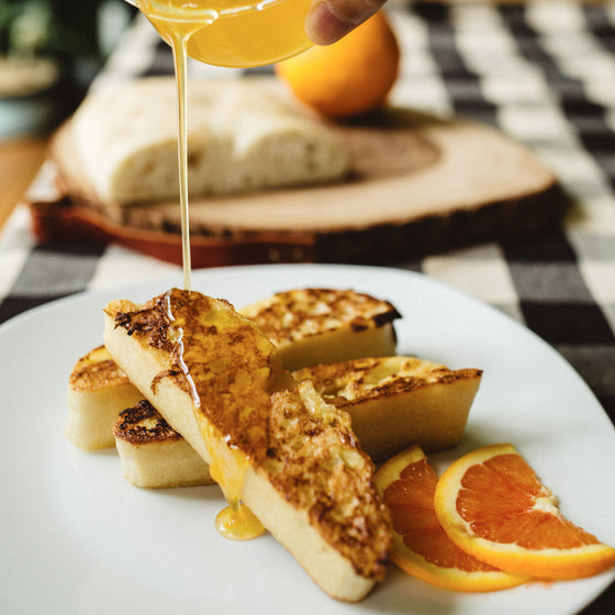 Ciabatta French Toast & Honey-Orange Syrup