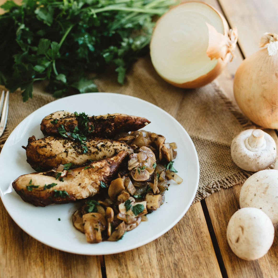 Pan-seared balsamic chicken & mushrooms (W30)