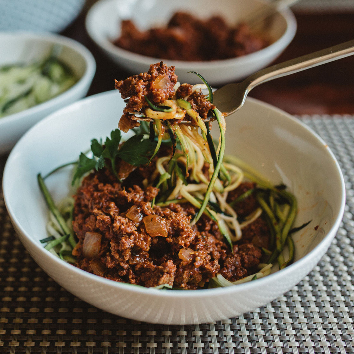Beef ragu over zucchini noodles