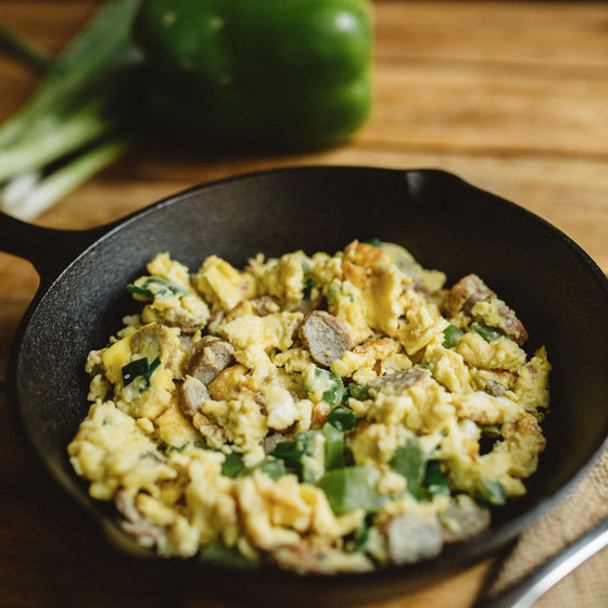 Vegetarian sausage breakfast scramble