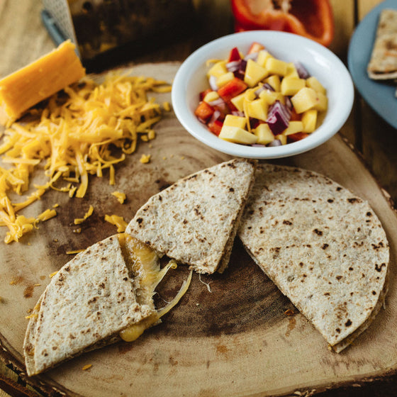 Baked chicken quesadillas w/ mango salsa