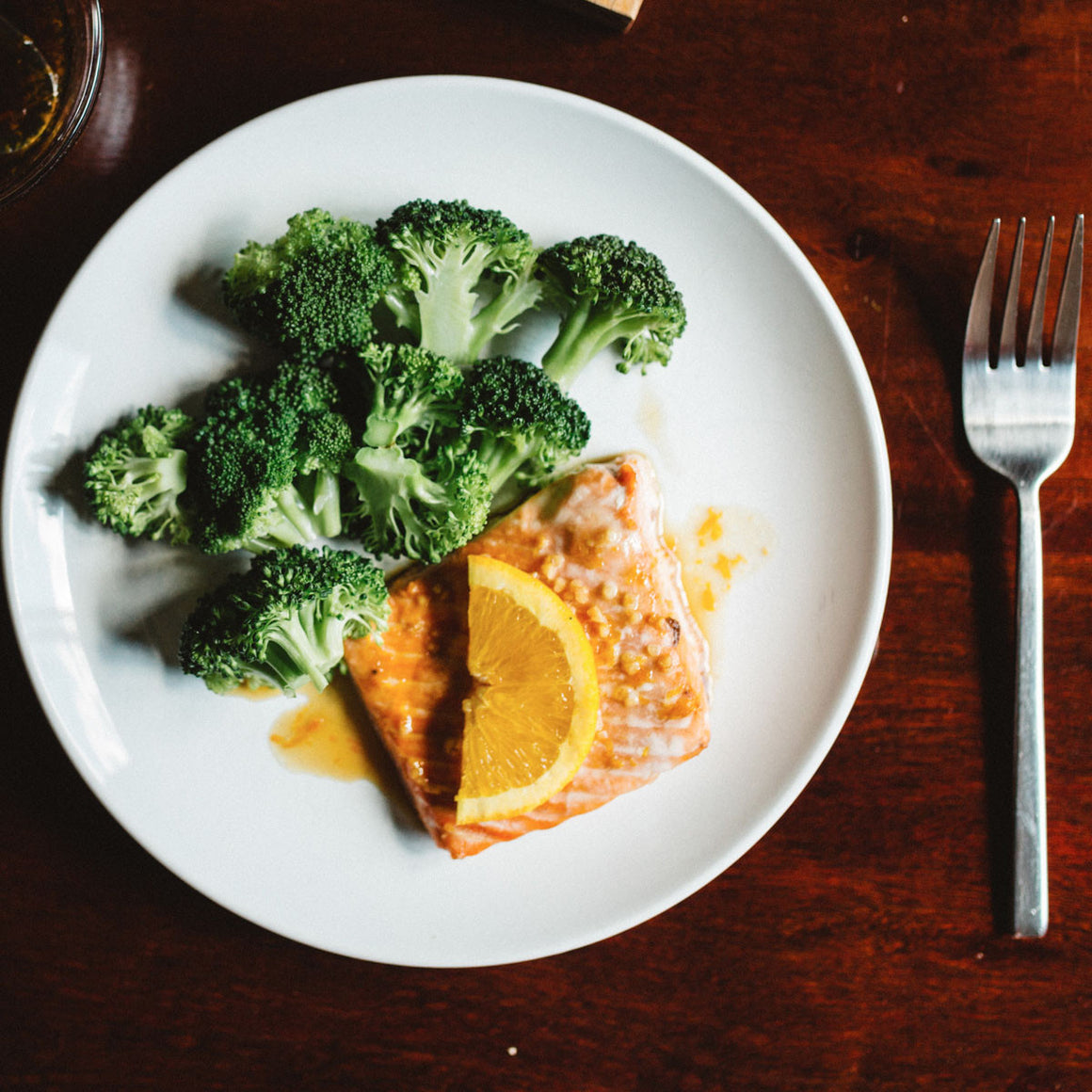 Orange teriyaki salmon & broccoli