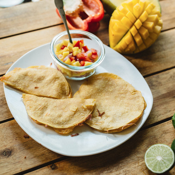GF baked cheese quesadillas w/ fresh mango salsa