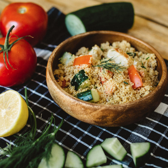 Vegetarian lemon chik'n & couscous salad