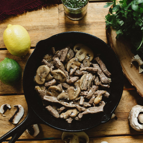 Sirloin steak & mushrooms with mild chimichurri sauce