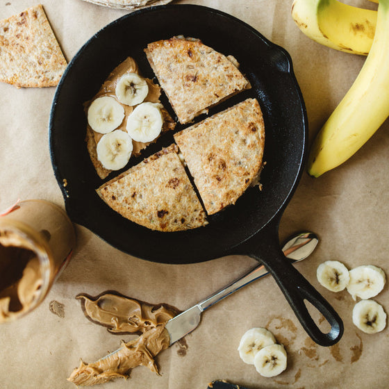 Baked peanut butter and banana quesadillas