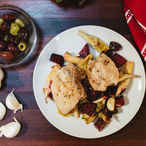 Roasted chicken thighs with artichokes, beets, lemon & olives (W30)