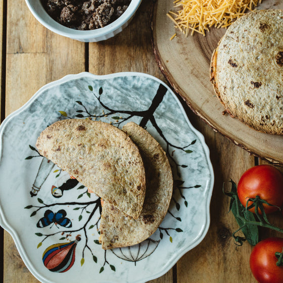 "Baked vegetarian cheese""burger"" quesadillas"