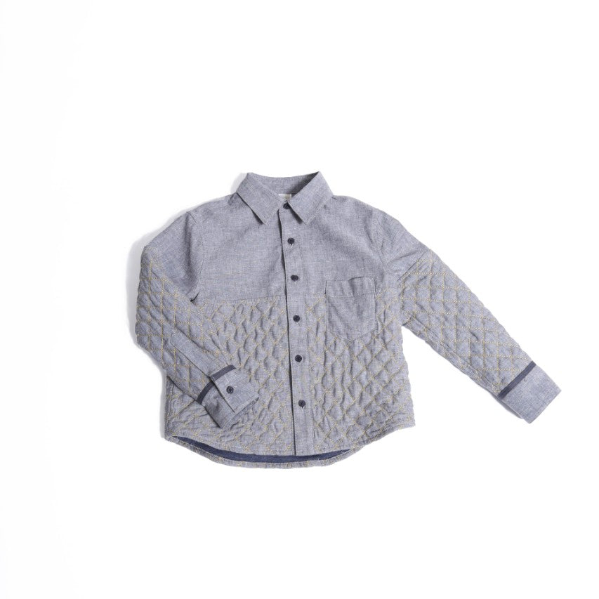 Pieced Blocked Button Down