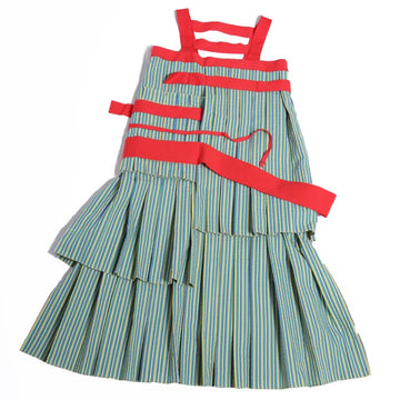 Patchwork Pleats Shift Dress