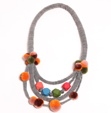 Pom Pom Cluster Necklace